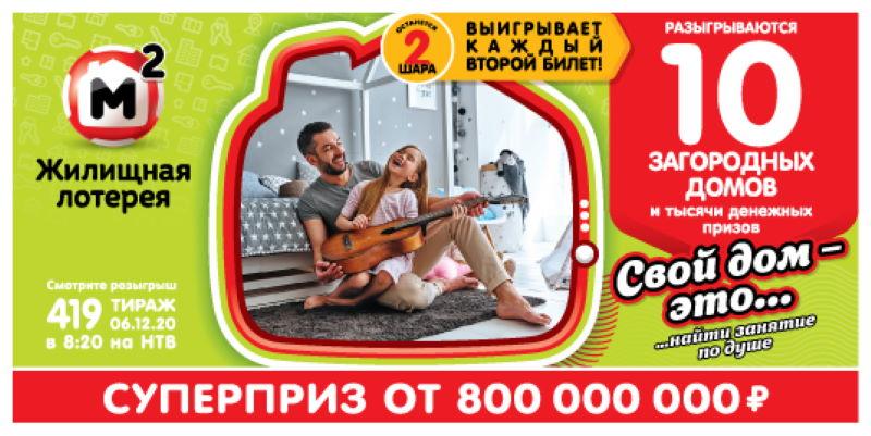 Тираж 419 Жилищной лотереи
